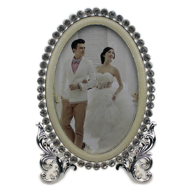Sparkling Crystal Zinc Alloy Photo Frame Oval Picture Frame