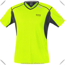 OEM V neck 100% polyester pro-mesh fluorescence green moisture wicking classic sports running t-shirt with comfortable fit.