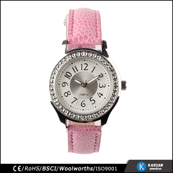stainless back pink leather wrist watch, stone quartz watch japan movt women