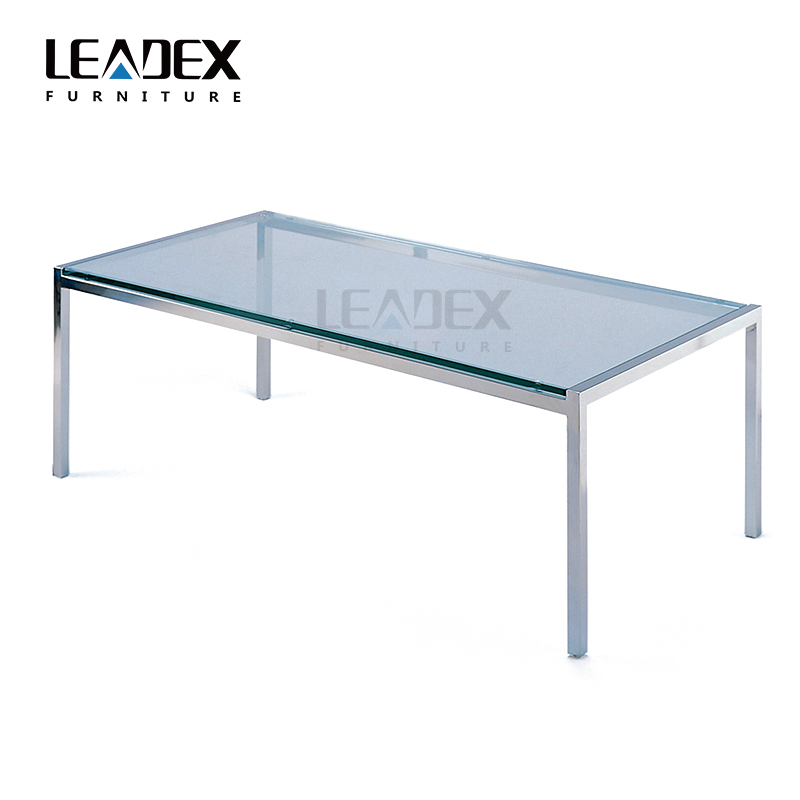 Modern style stainless steel glass coffee table