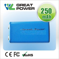 rechargeable 250mah NIMH 9v battery for toy