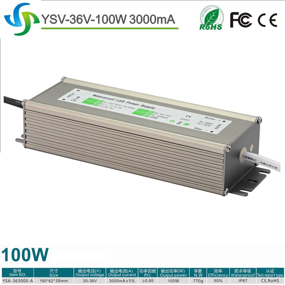Constant current LED driver 3000mA 100W waterproof electronic LED power supply for LED wallwasher