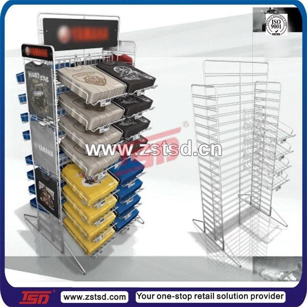 TSD-W1226 display stand shirt, t-shirt display rack, floor stand metal clothing store display design