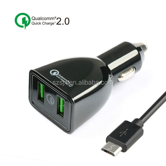 Wholesale Quick Charge 2.0 Car Charger 36W Dual USB Car Charger With Auto Detect for Android and iOS Mobile Phones&Tablets