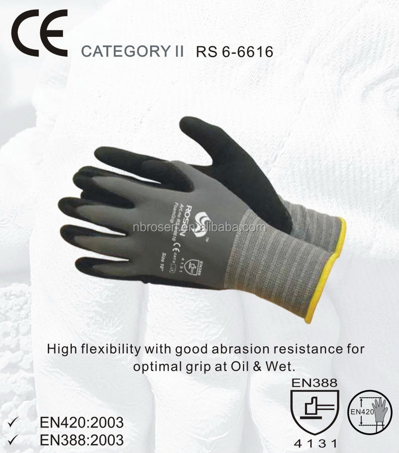 RS SAFETY knitwrist nitrile micro foam anti slip nylon spandex gloves knitted