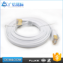 Flat patch cord RJ45 custom color and length slim CAT5e CAT6 flat ftp ethernet cable