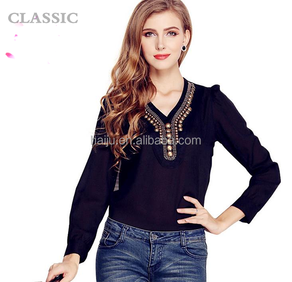 Classic&elegant long sleeve neck design of blouse models