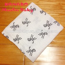 Newest Design Fashion Cute Horse Printed Baby Blanket 100% Cotton Baby Muslin Swaddle