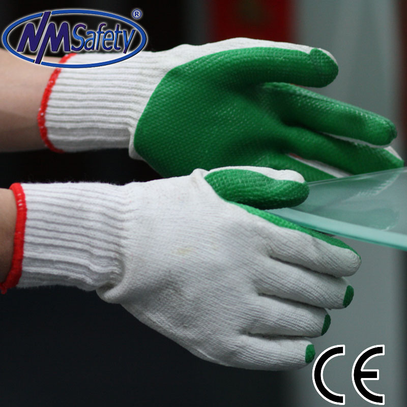 NMSAFETY anti light bite Cotton textile gloves with green rubber on palm working gloves