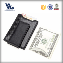Wholesale Secure Slim Carbon Fiber Money Clip Wallet leather RFID Card Holder