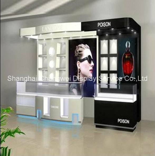 High-end black white perfume display counter /glass shop display showcase cabinet wall shelving