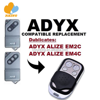 ADYX ALIZE EM2C EM4C rf Garage Door Gate Remote Control Replacement Duplicator transmitter key fob