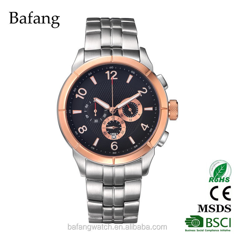 High quality stainless steel chain wrist watch for men use with chronograph watch