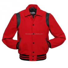 Wholesale Quality Red Plain Collared Woolen Varsity Jackets for OEM Service