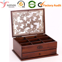 Vintga style jewelry box painting wooden storage case multi drawer compartments box