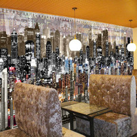 Waterproof and durable decorative 3d city pattern wallpaper for bar