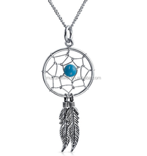 Wholesale Price 925 Sterling Silver Blue Gemstone Feather Pendant Necklace