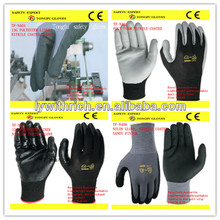 high quality nylon nitrile coating/coated safe work glove