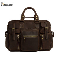 7028 Moshi Vintage Style Dark Brown Crazy Horse Leather Luggage Bag with Organized Pockets