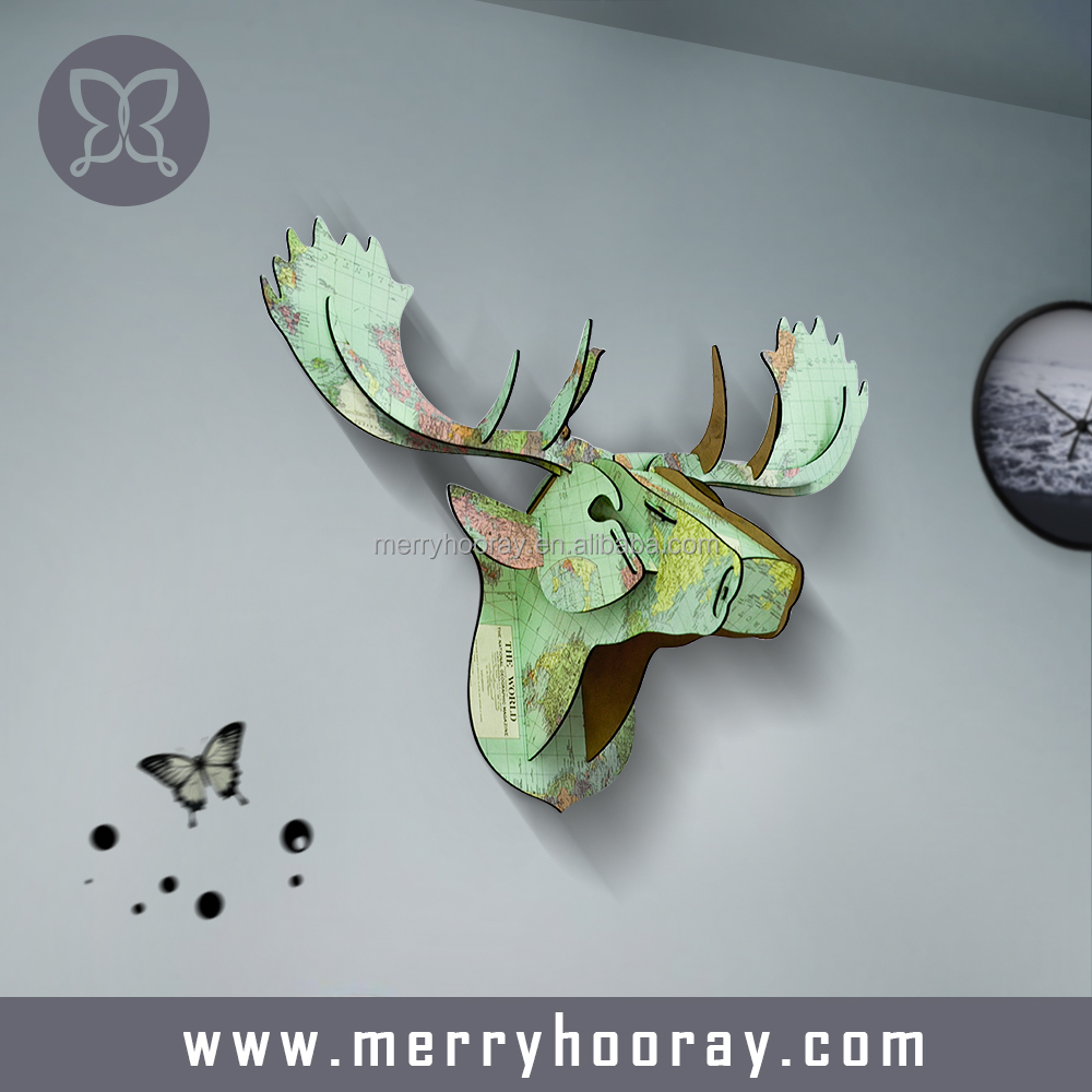 Modern MDF wood animal head wall hanging, 3d wood moose head for home decor