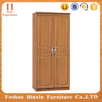 Home furniture designs mdf wardrobe closet RB9122 wooden 2 door pvc godrej almirah furniture
