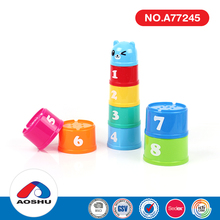 Educational toys colorful cartoon style plastic baby stacking cups with 9 pcs