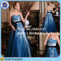 long dresses in lace tulle embroidery sequin fabric with black sash a-line lace wedding dress blue colour