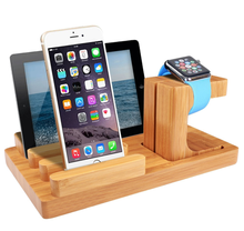 Watch bamboo wood stand charging station dock