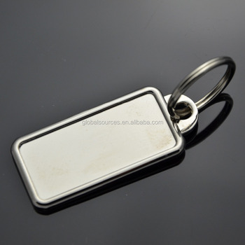 New rectangular blank metal keyring single sided and two sided available