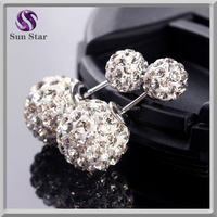 Free sample 925 sterling silver cubic zirconia crystal double sided earrings