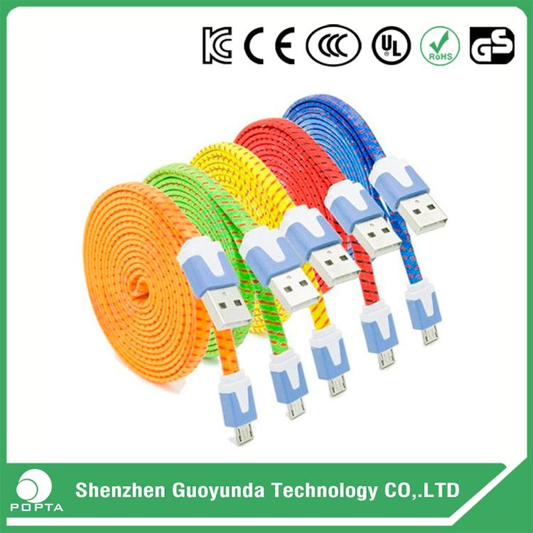 noodle flat Micro USB cable mobile phone data cable, charging cord, usb charging data cable