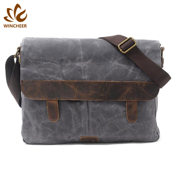High quality custom colors leather decoration waterproof batik retro canvas laptop tactical messenger bag
