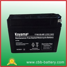 Truly quality 2.3ah 12V motorcycle battery starting battery 2.3ah 12V YT4B-BS