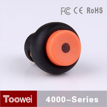 Toowei 12mm mini orange waterproof push button on off switch with led light high round head