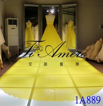 2016 Lemon-Yellow Chiffon Dress Open Back Split Long Maxi Dress With Detachable Train Long Removable Tail Evening Dress1A889