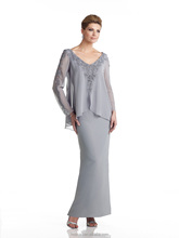 grey long sleeve lace chiffon mother long evening dress patterns