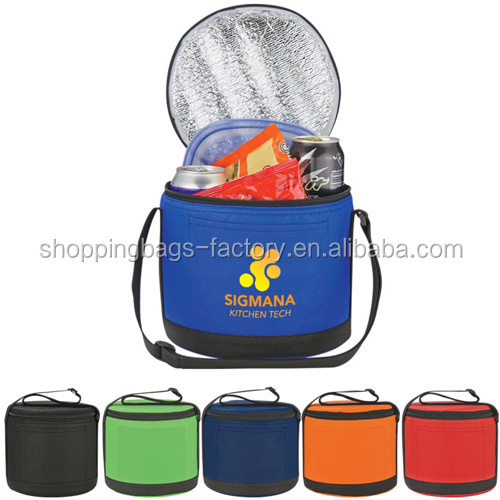 Portable Outdoor Activities Drink Carry Bag Round Non-Woven Cooler Bag