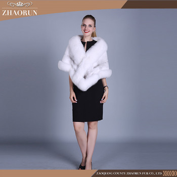 100% Real White Mink Fur Shawl Petty Mink Fur Cape With Fox Fur Collar
