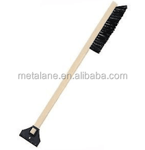 Wooden long handle snow cleaning brush with ice scraper