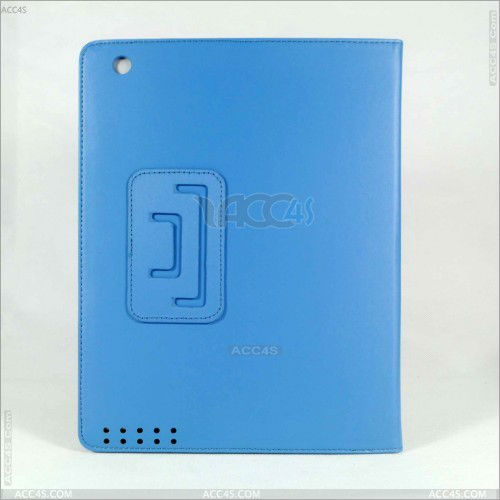 Blue Pu Leather Case Cover with Leather Belt+buckle for Apple the New Ipad 2&3&4 P-iPAD234CASE071