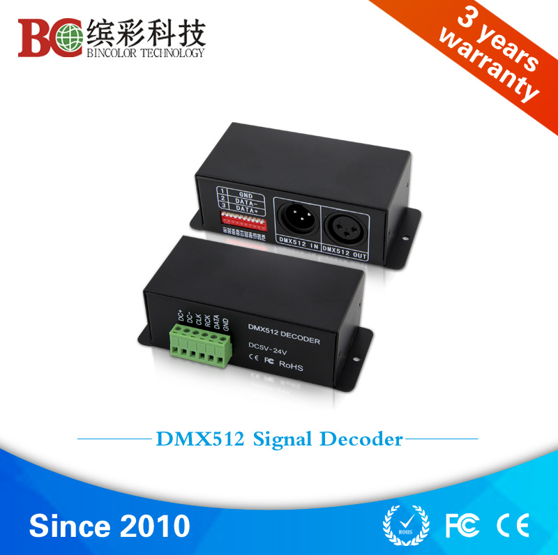24 channels DC5V-DC24V addressable TM1809 led dmx512 decoder