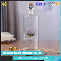 Chinese novel products custom blue material glass vodka bottle
