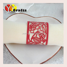 "New design!Wedding decoration red color ""rose flower"" laser cut paper napkin rings"