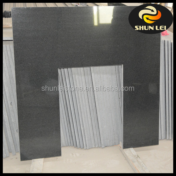 China black granite slabbed fireplace back panel