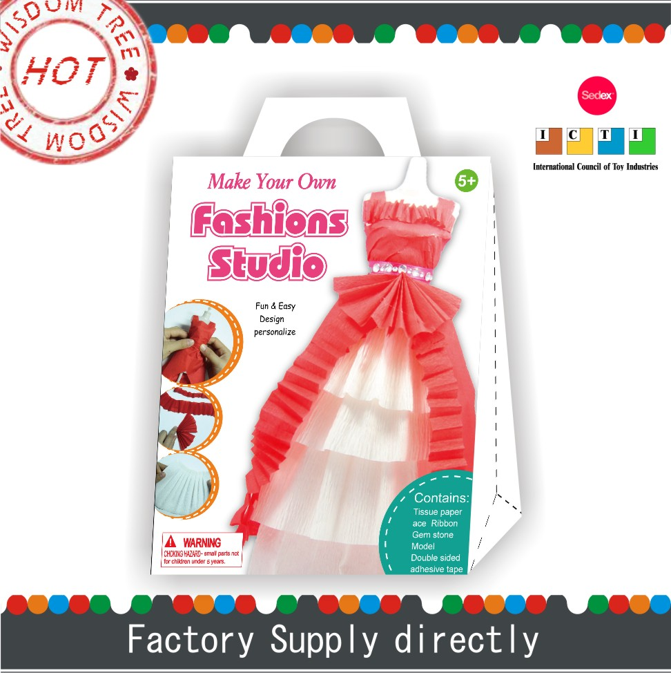 Design Your Own Paper Prom Dress for Plastic Model, New Fashion Paper Craft Kits for Kids DIY, Girls Games Dress Up