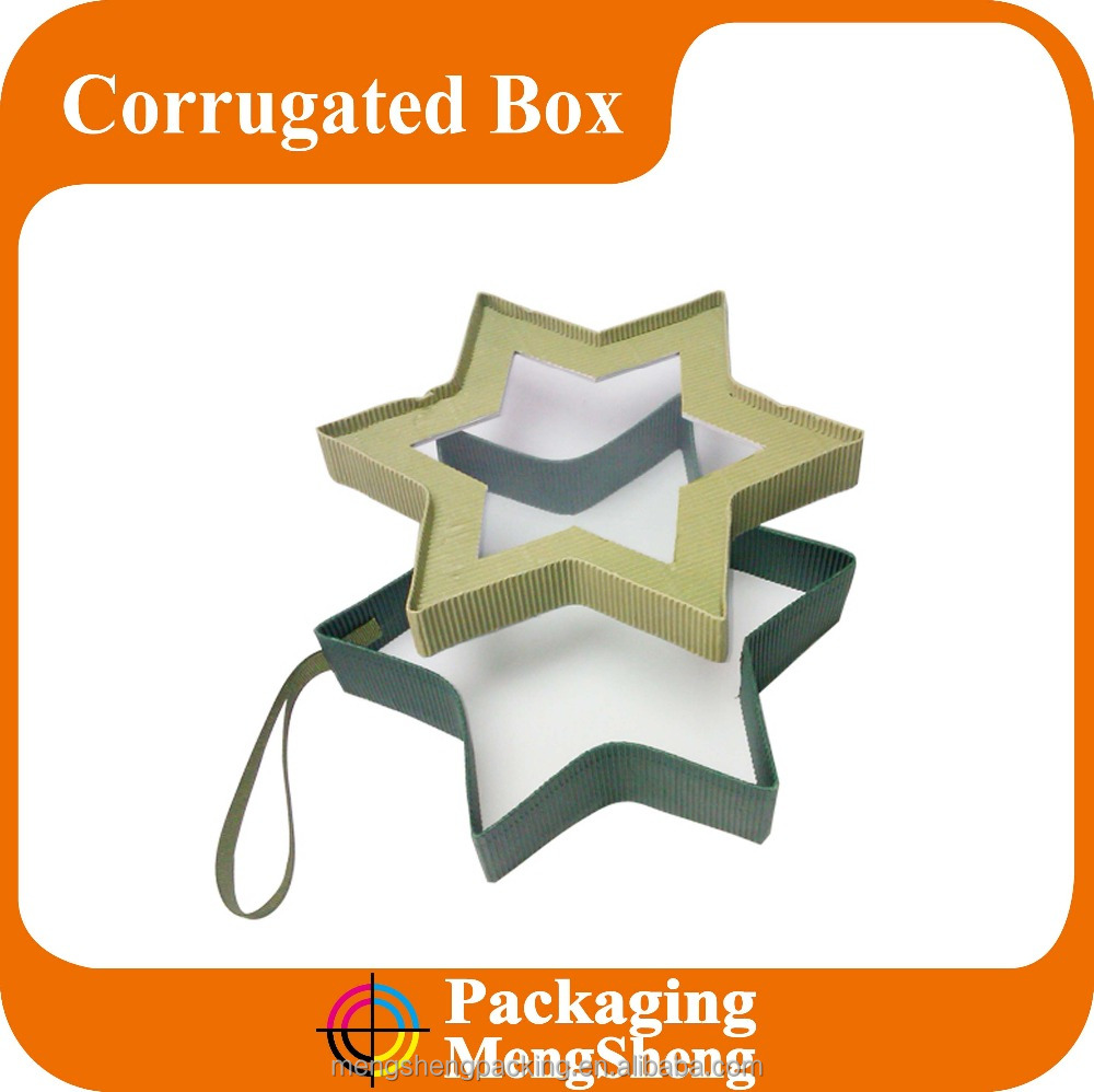 Star shaped Christmas gift cardboard packaging box with window