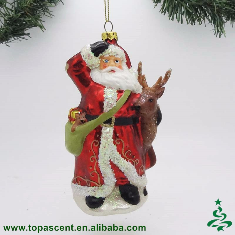 2016 traditional hand blown glass christmas Santa Claus ornaments