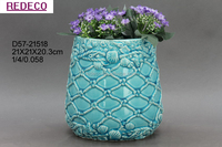 Glazed ceramic garden flower pot