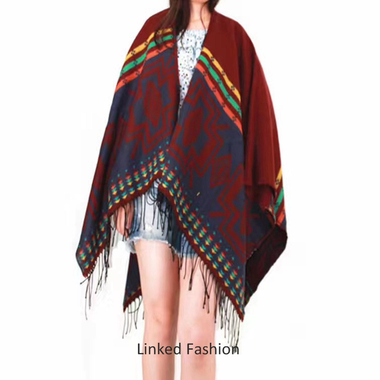 Ladies European style winter oversize knitted cape poncho shawl with arm soft