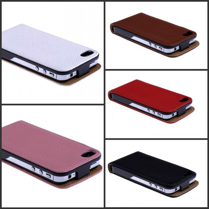 Genuine Leather Phone Flip Case Mobile Cover For iphone 4 in 5 color